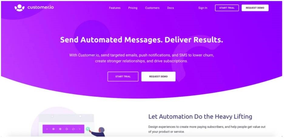 Customer.io software automates messages, designs experiences & pushes subscriptions of products/services