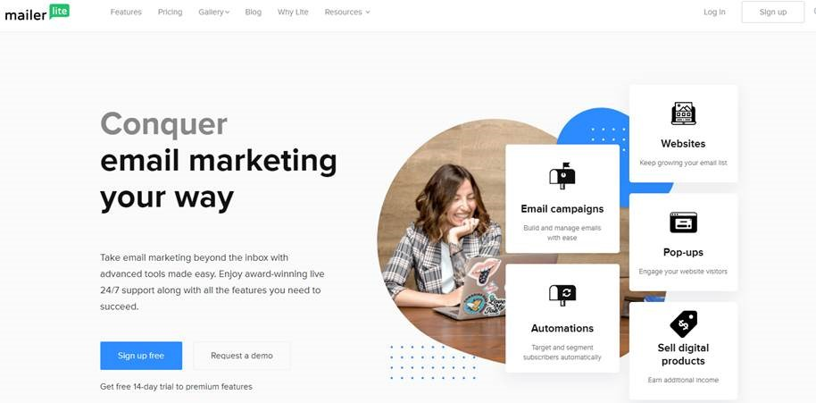 Conquer email marketing your way with advanced & award-winning tools from MailerLite with features that you need to succeed